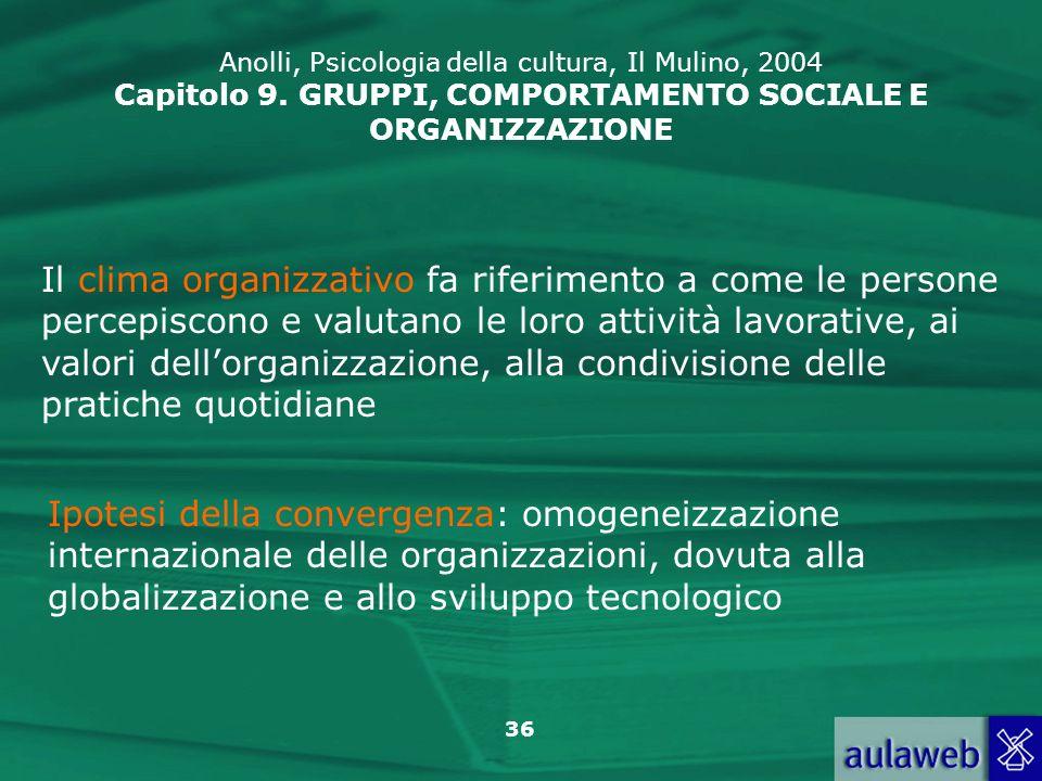 Anolli, Psicologia della cultura, Il Mulino, 2004 Capitolo 9