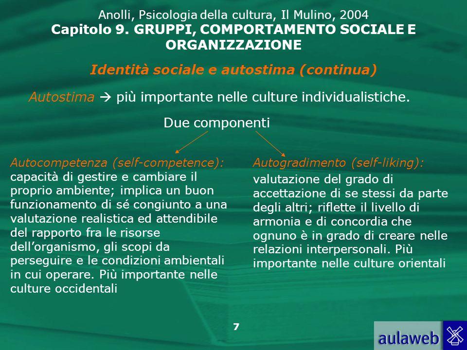 Identità sociale e autostima (continua)