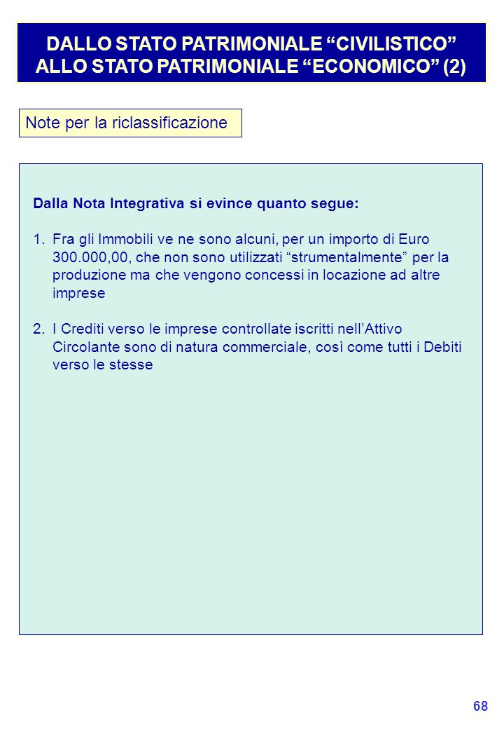 DALLO STATO PATRIMONIALE CIVILISTICO ALLO STATO PATRIMONIALE ECONOMICO (2)
