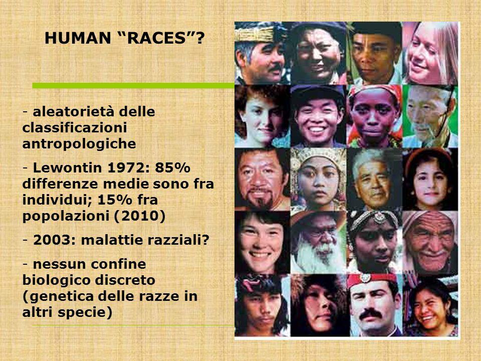 HUMAN RACES aleatorietà delle classificazioni antropologiche