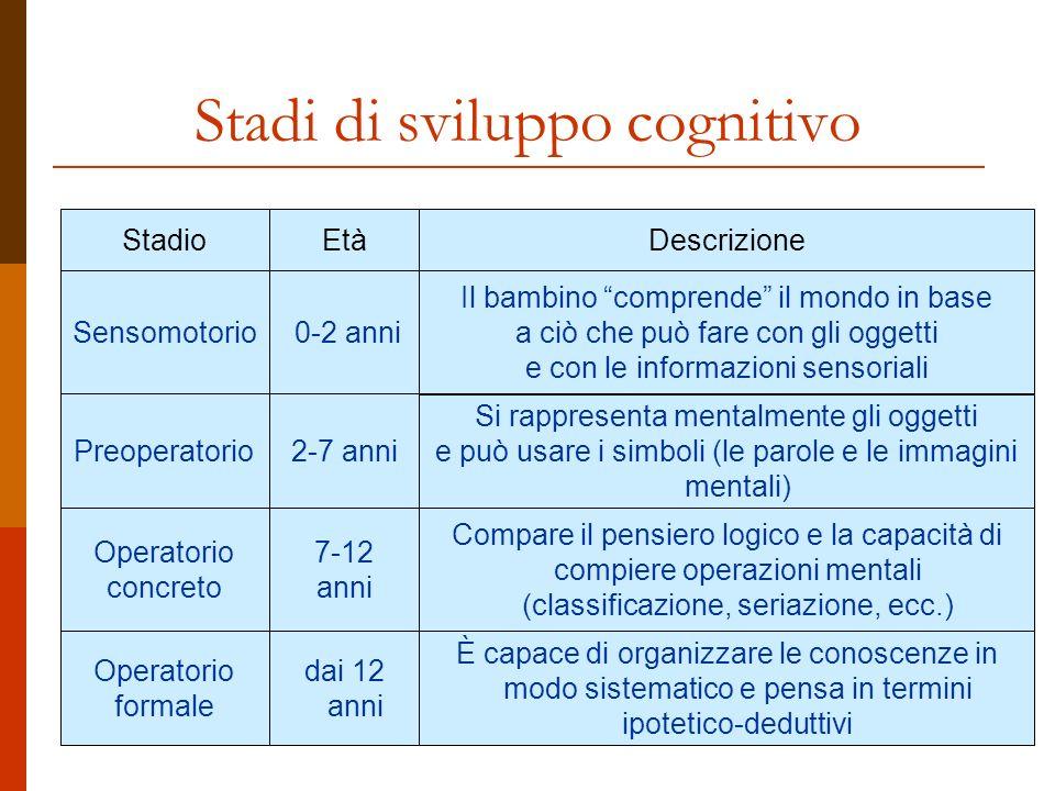 Stadi di sviluppo cognitivo