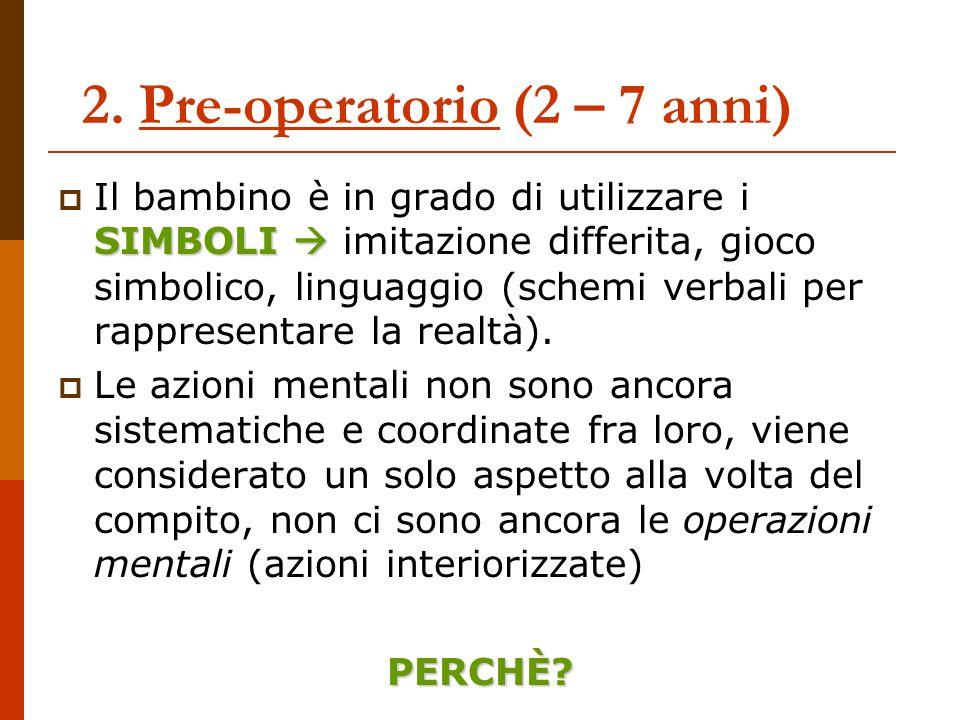 2. Pre-operatorio (2 – 7 anni)