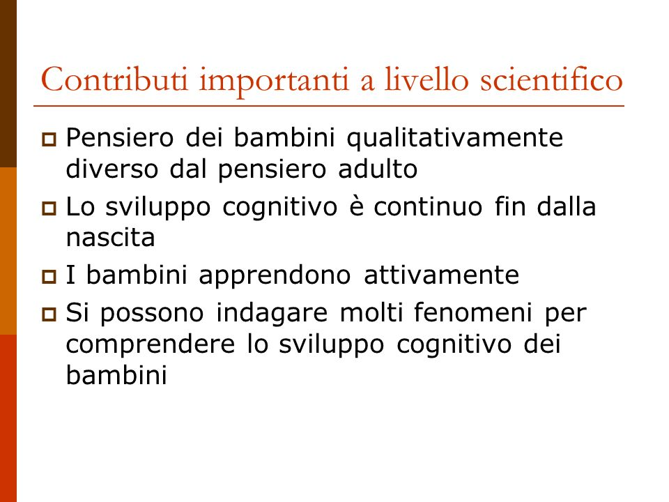 Contributi importanti a livello scientifico