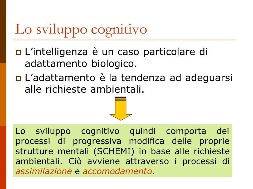 Lo sviluppo cognitivo L'intelligenza è un caso particolare di adattamento biologico.