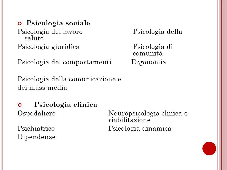 Psicologia sociale Psicologia del lavoro Psicologia della salute.