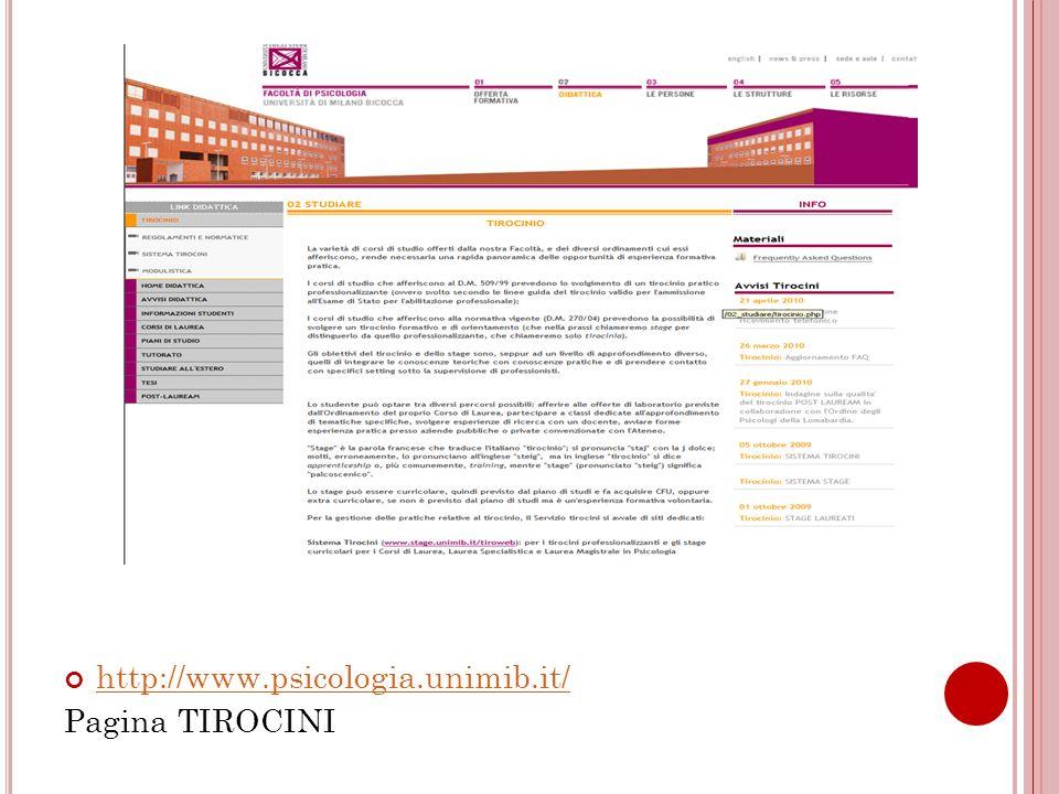 http://www.psicologia.unimib.it/ Pagina TIROCINI