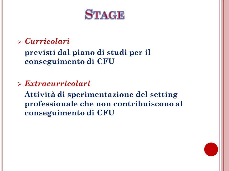 Stage Curricolari. previsti dal piano di studi per il conseguimento di CFU. Extracurricolari.