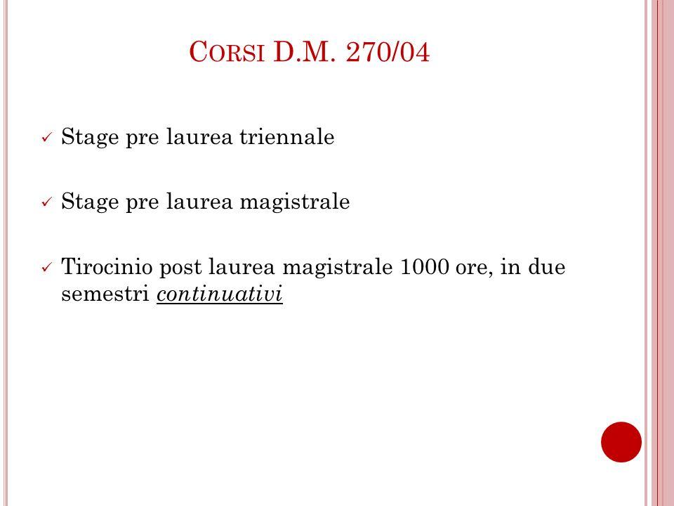 Corsi D.M. 270/04 Stage pre laurea triennale