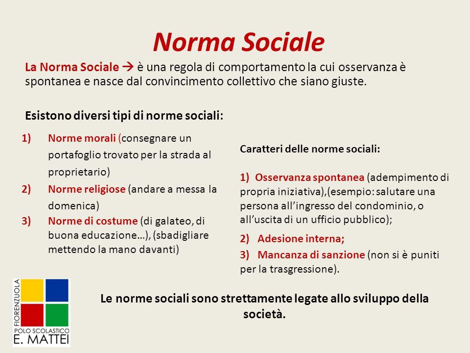 Le norme sociali sono strettamente legate allo sviluppo della società.