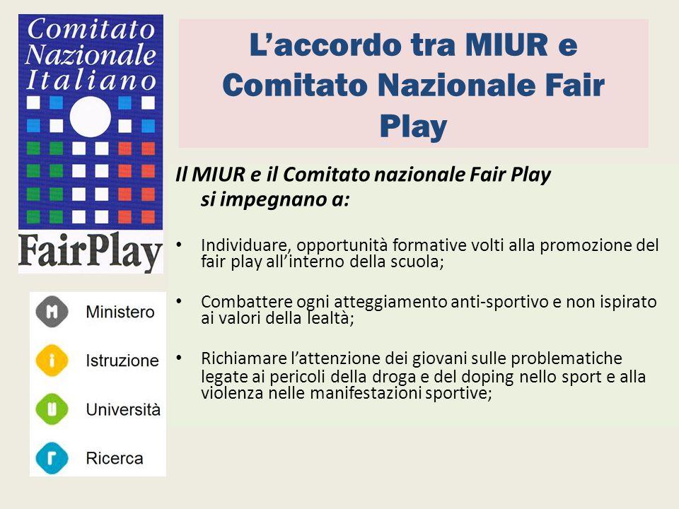 L'accordo tra MIUR e Comitato Nazionale Fair Play