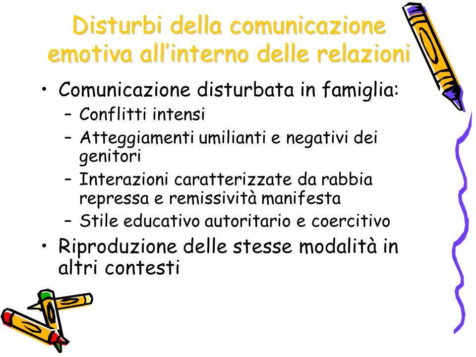 Disturbi della comunicazione emotiva all'interno delle relazioni