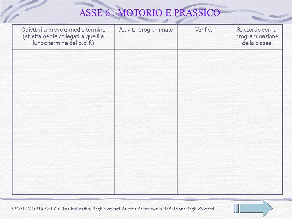 ASSE 6 : MOTORIO E PRASSICO