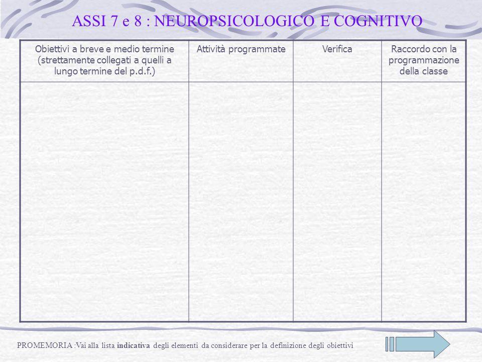 ASSI 7 e 8 : NEUROPSICOLOGICO E COGNITIVO