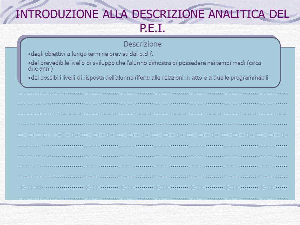 INTRODUZIONE ALLA DESCRIZIONE ANALITICA DEL P.E.I.
