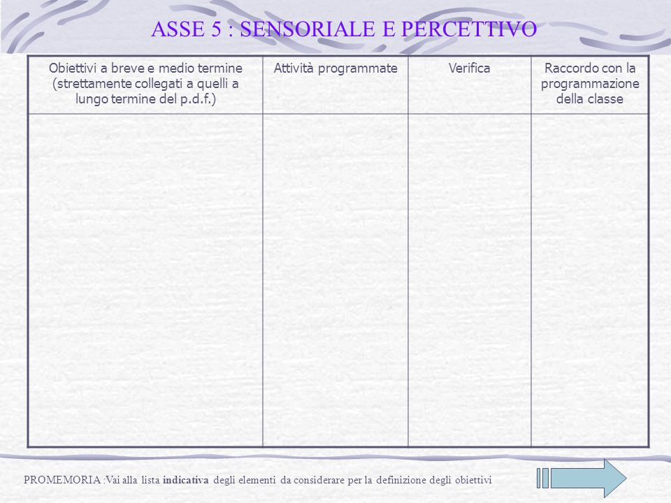 ASSE 5 : SENSORIALE E PERCETTIVO