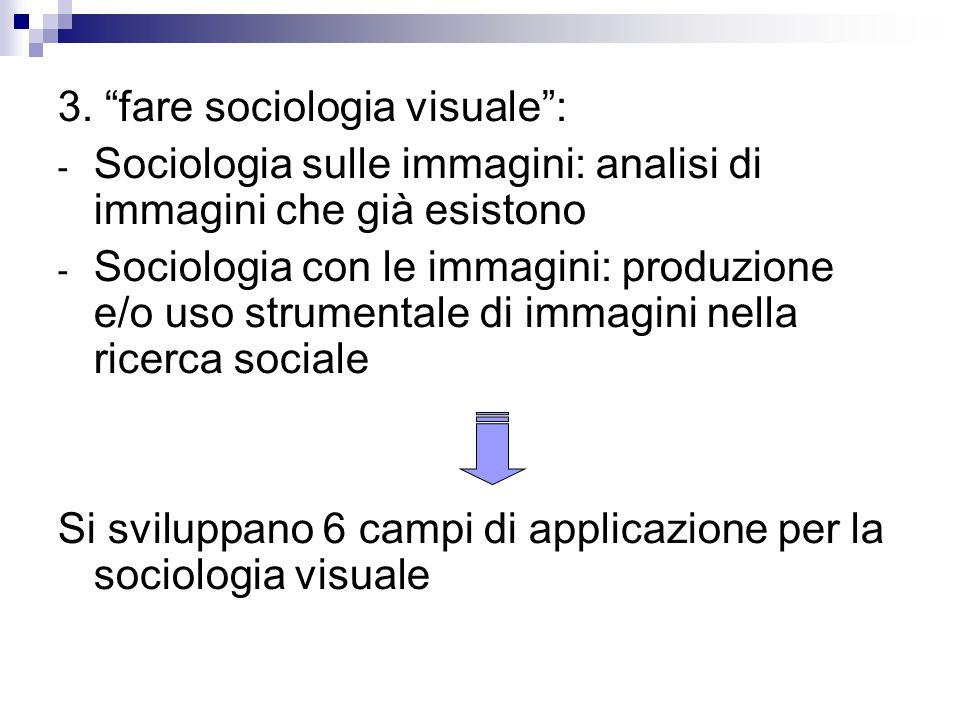 3. fare sociologia visuale :