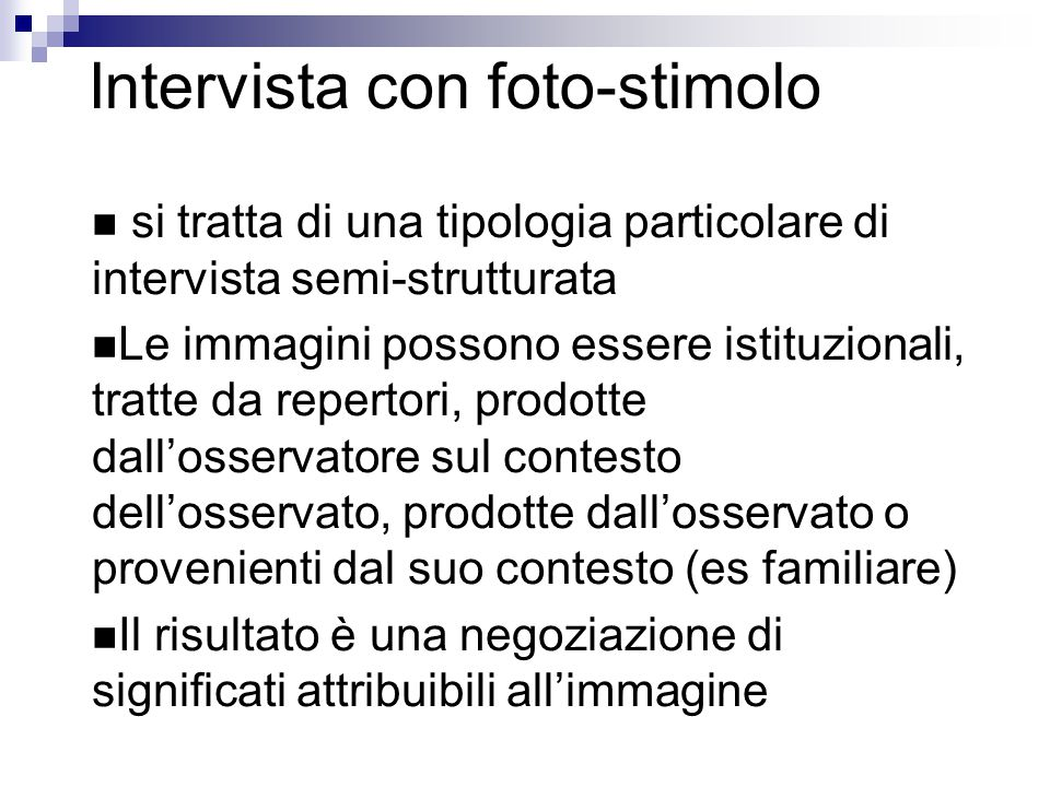 Intervista con foto-stimolo
