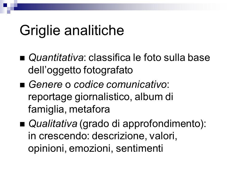 Griglie analitiche Quantitativa: classifica le foto sulla base dell'oggetto fotografato.
