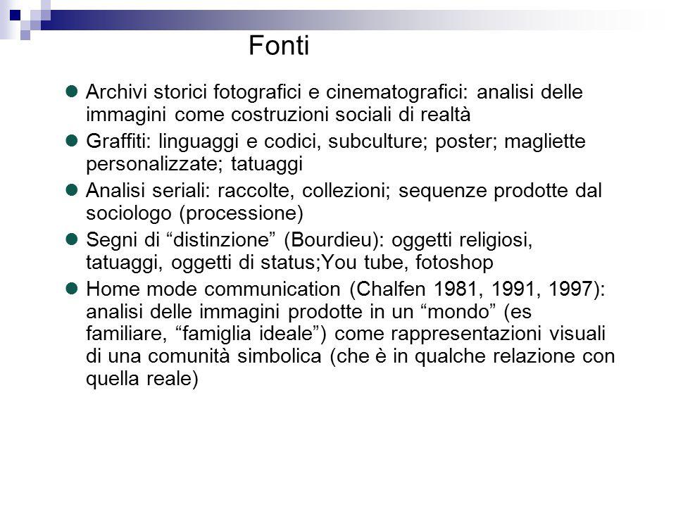 Fonti Archivi storici fotografici e cinematografici: analisi delle immagini come costruzioni sociali di realtà.