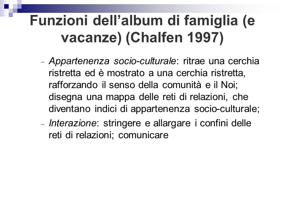 Funzioni dell'album di famiglia (e vacanze) (Chalfen 1997)