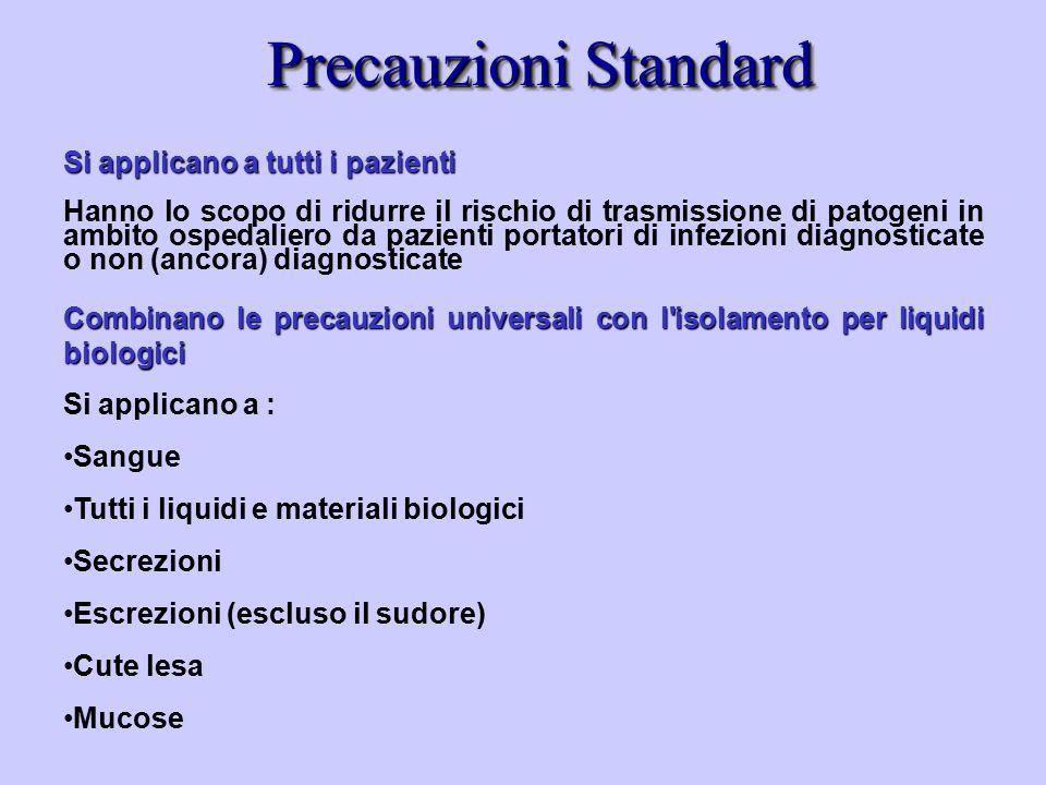 Precauzioni Standard Si applicano a tutti i pazienti