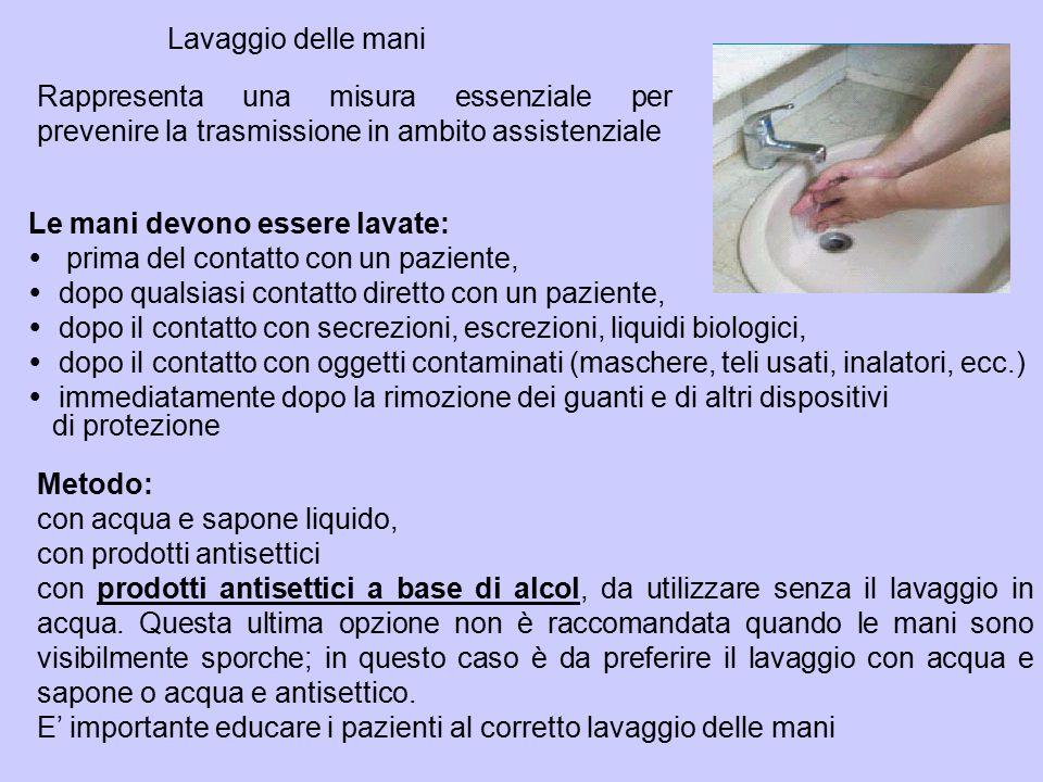 Lavaggio delle mani Rappresenta una misura essenziale per prevenire la trasmissione in ambito assistenziale.