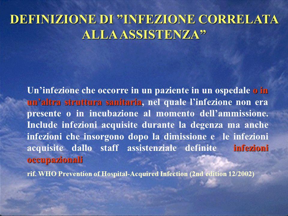 DEFINIZIONE DI INFEZIONE CORRELATA ALLA ASSISTENZA