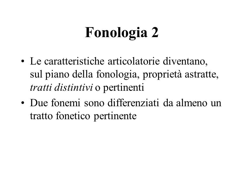 Fonologia 2 Le caratteristiche articolatorie diventano, sul piano della fonologia, proprietà astratte, tratti distintivi o pertinenti.