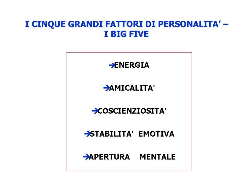 I CINQUE GRANDI FATTORI DI PERSONALITA' – I BIG FIVE