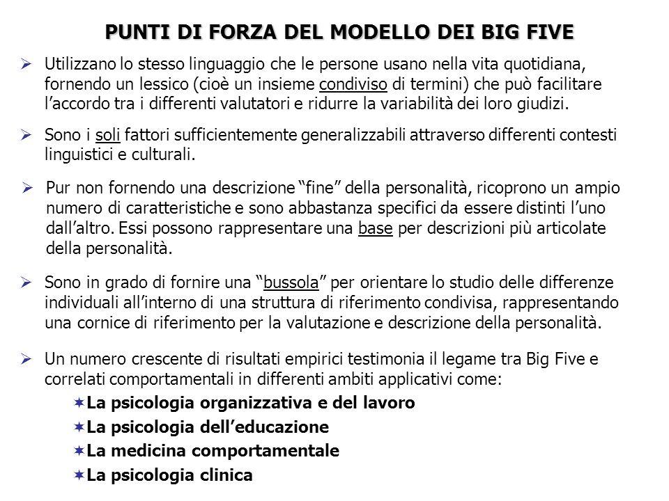 PUNTI DI FORZA DEL MODELLO DEI BIG FIVE