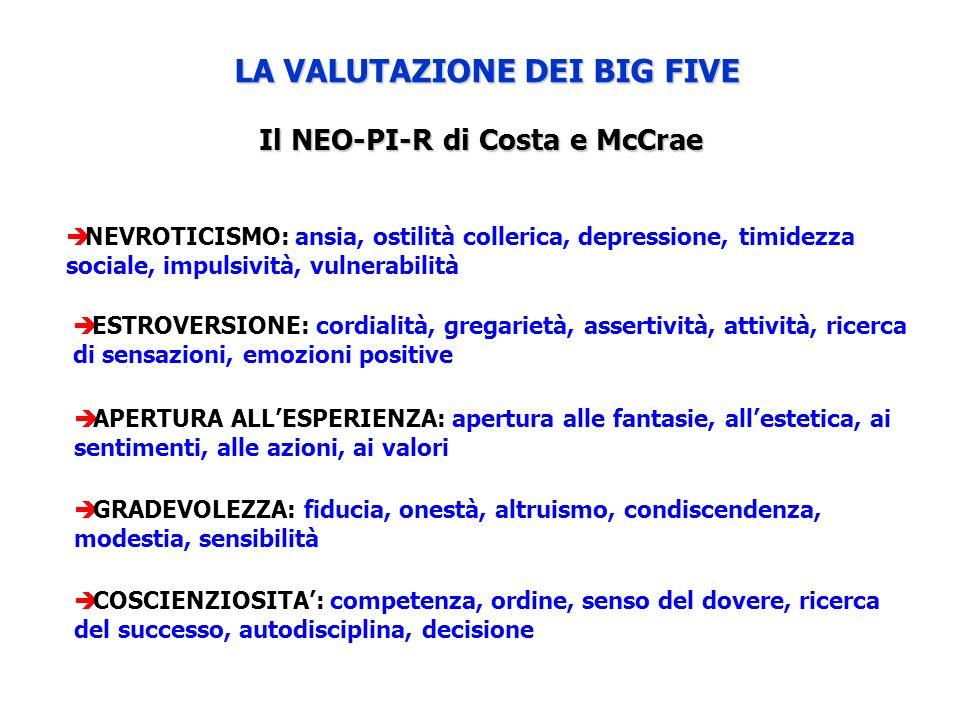 LA VALUTAZIONE DEI BIG FIVE Il NEO-PI-R di Costa e McCrae
