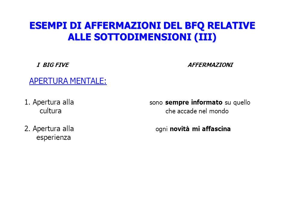 ESEMPI DI AFFERMAZIONI DEL BFQ RELATIVE ALLE SOTTODIMENSIONI (III)