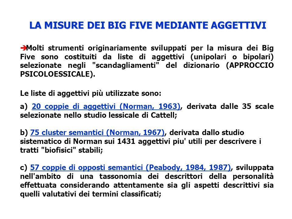 LA MISURE DEI BIG FIVE MEDIANTE AGGETTIVI