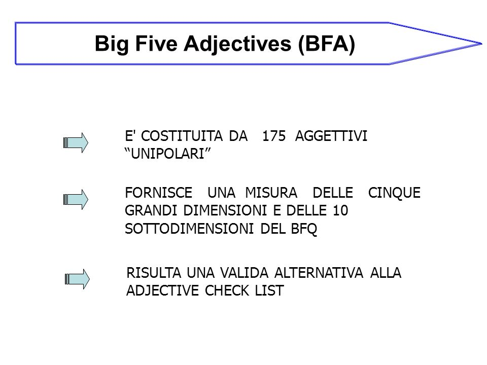 Big Five Adjectives (BFA)
