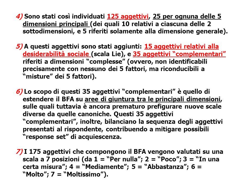4) Sono stati così individuati 125 aggettivi, 25 per ognuna delle 5 dimensioni principali (dei quali 10 relativi a ciascuna delle 2 sottodimensioni, e 5 riferiti solamente alla dimensione generale).