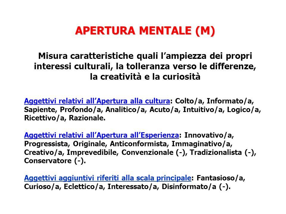 APERTURA MENTALE (M) Misura caratteristiche quali l'ampiezza dei propri interessi culturali, la tolleranza verso le differenze, la creatività e la curiosità