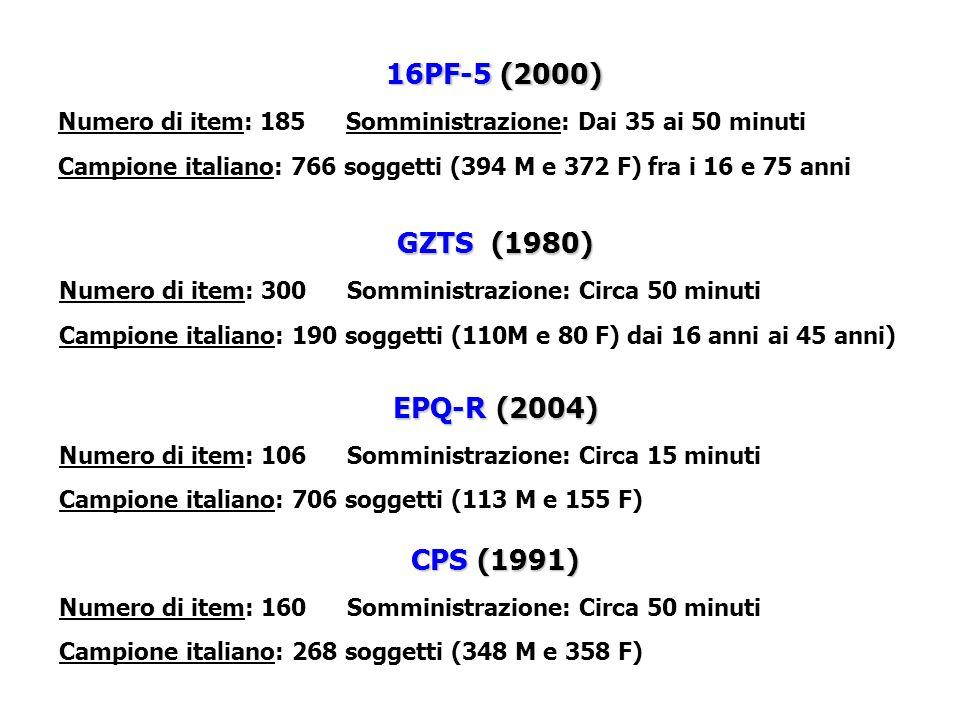 16PF-5 (2000) GZTS (1980) EPQ-R (2004) CPS (1991)