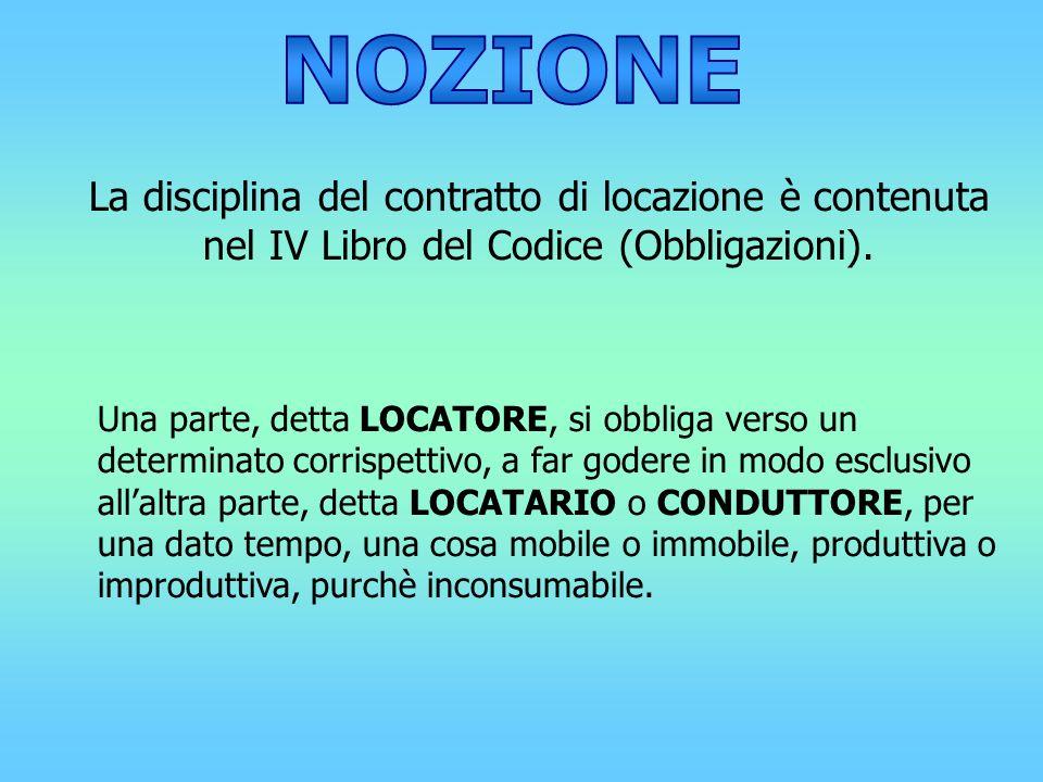 NOZIONELa disciplina del contratto di locazione è contenuta nel IV Libro del Codice (Obbligazioni).