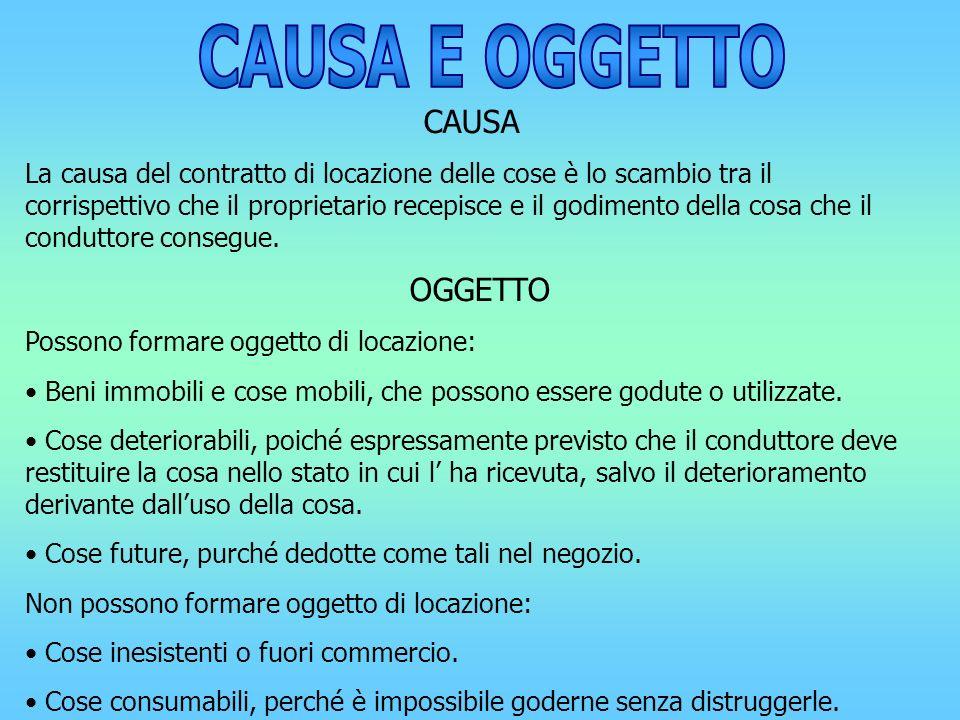 CAUSA E OGGETTO CAUSA OGGETTO