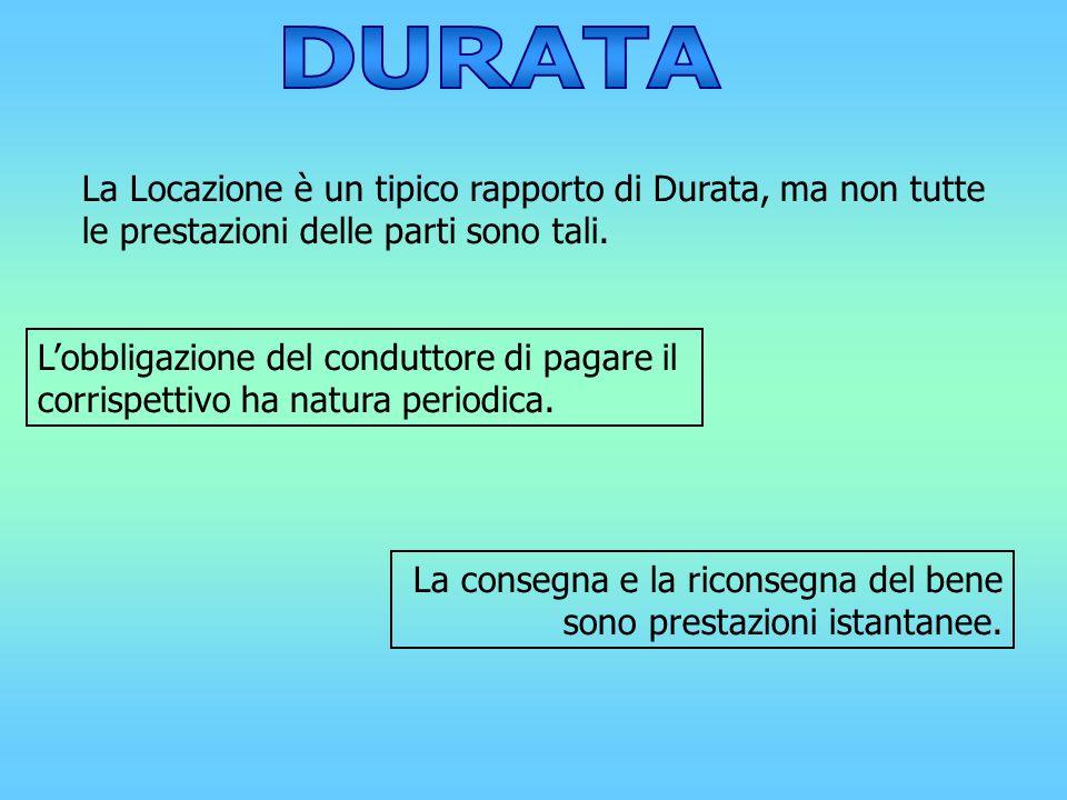 DURATA La Locazione è un tipico rapporto di Durata, ma non tutte le prestazioni delle parti sono tali.
