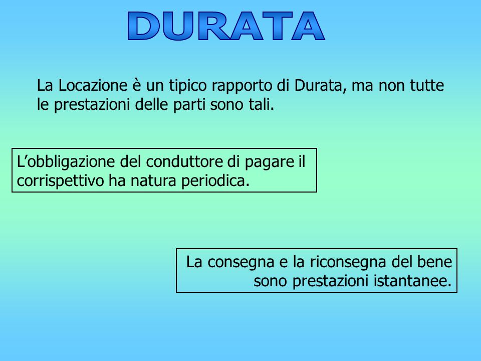 DURATALa Locazione è un tipico rapporto di Durata, ma non tutte le prestazioni delle parti sono tali.