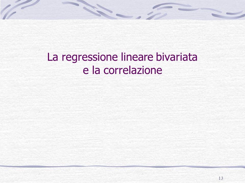 La regressione lineare bivariata e la correlazione