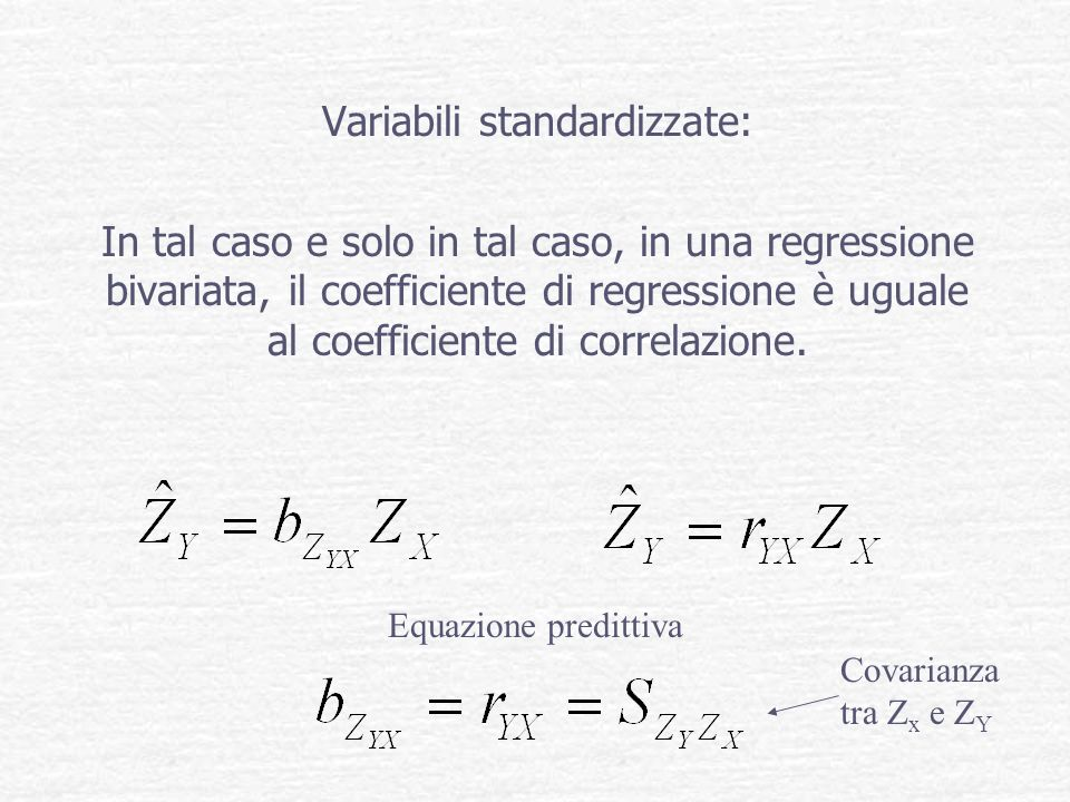 Variabili standardizzate: