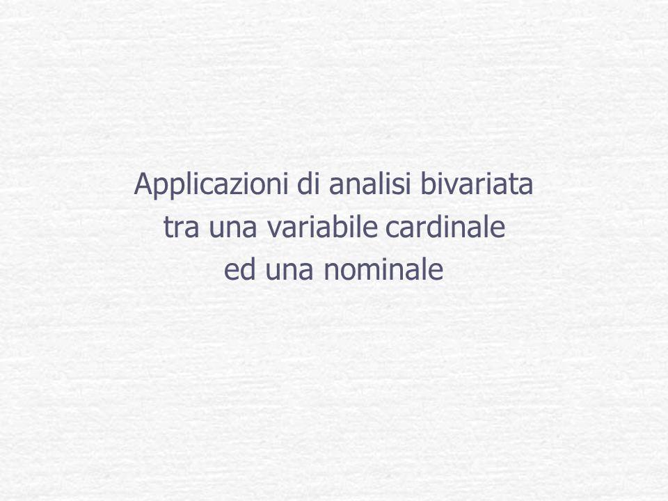Applicazioni di analisi bivariata tra una variabile cardinale