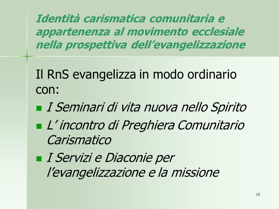 Il RnS evangelizza in modo ordinario con: