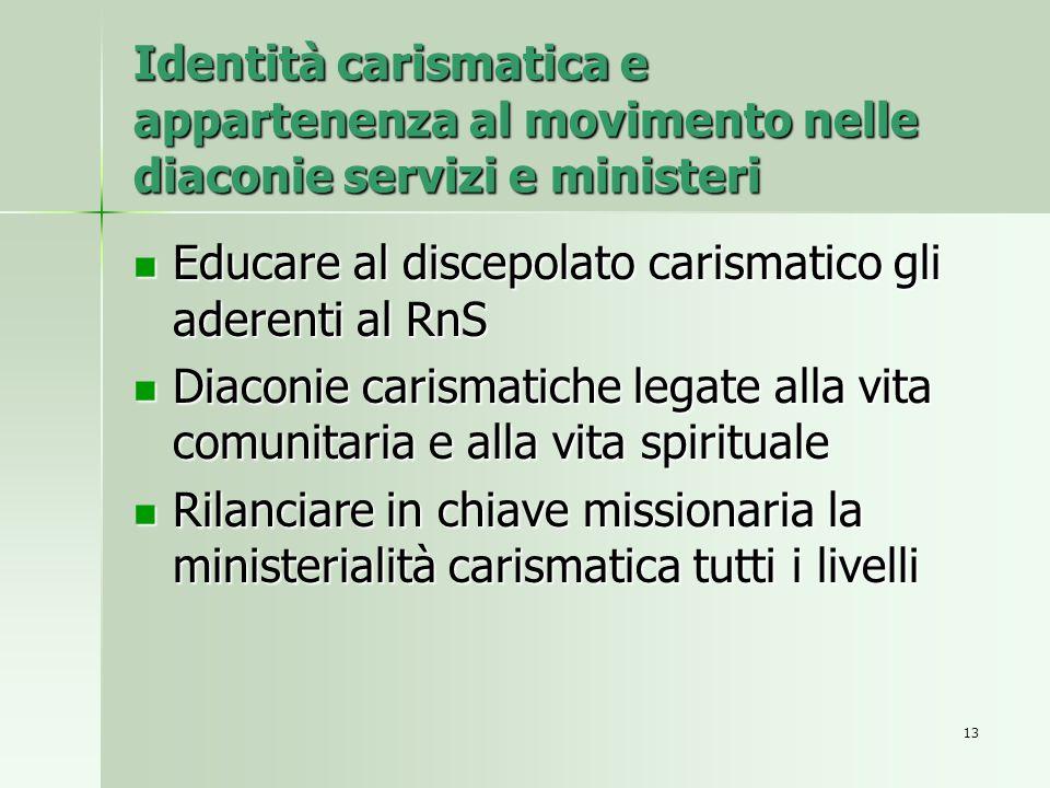 Identità carismatica e appartenenza al movimento nelle diaconie servizi e ministeri