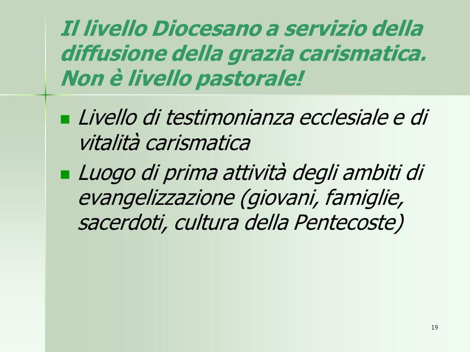 Il livello Diocesano a servizio della diffusione della grazia carismatica. Non è livello pastorale!