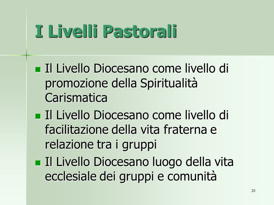 I Livelli Pastorali Il Livello Diocesano come livello di promozione della Spiritualità Carismatica.