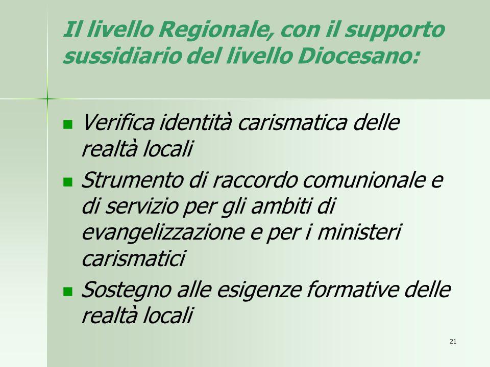 Il livello Regionale, con il supporto sussidiario del livello Diocesano: