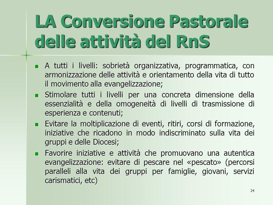 LA Conversione Pastorale delle attività del RnS